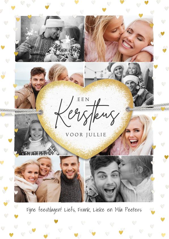 Kerstkaarten - Kerstkaart fotocollage liefde hartjes goud label kus