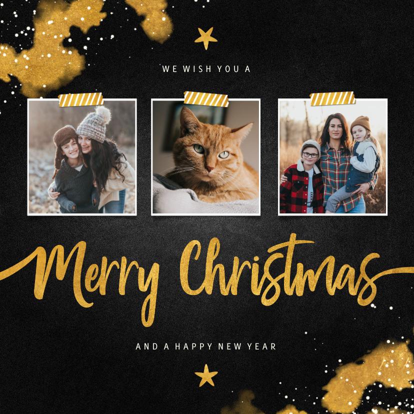Kerstkaarten - Kerstkaart fotocollage Merry Christmas krijtbord met goud
