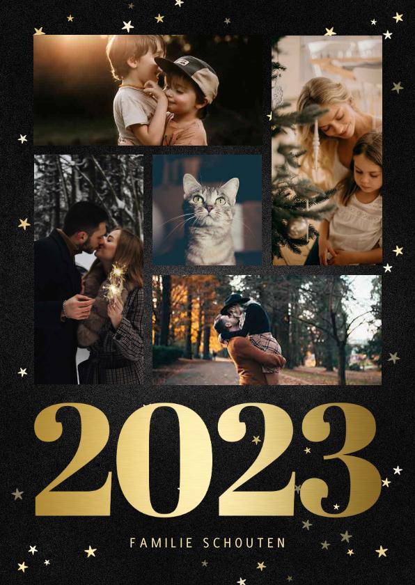 Kerstkaarten - Kerstkaart fotocollage met gouden 2022 en sterren
