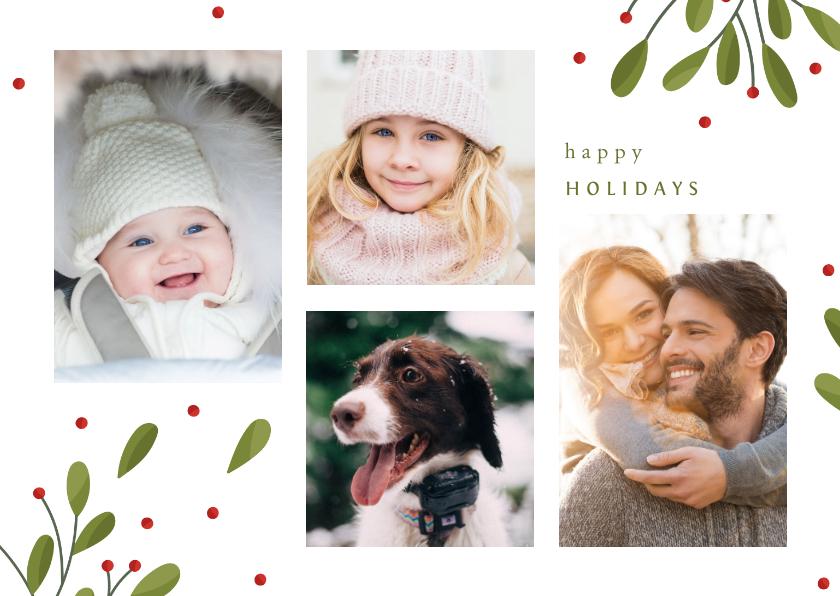 Kerstkaarten - Kerstkaart fotocollage met takjes en besjes