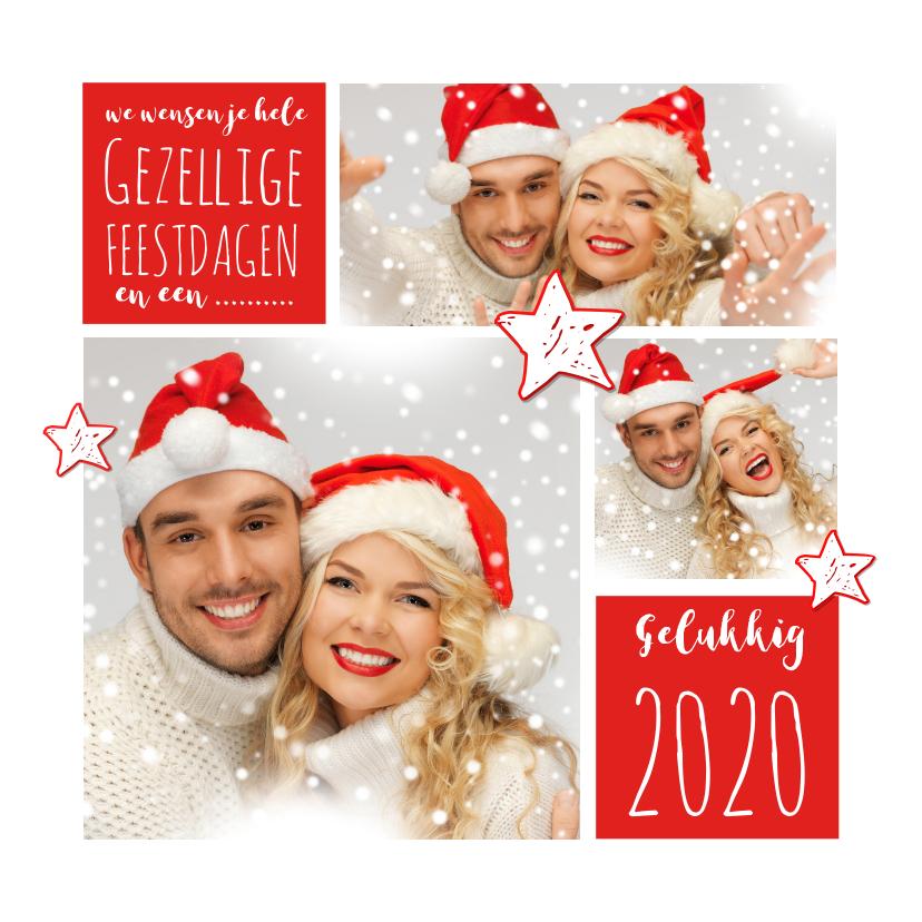 Kerstkaarten - Kerstkaart fotocollage rood 2019