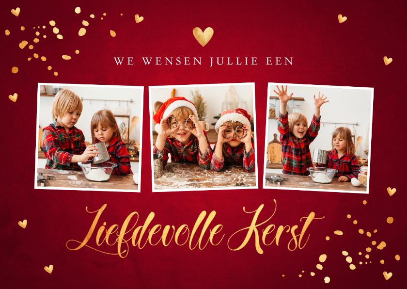 Kerstkaarten - Kerstkaart fotocollage rood confetti goudlook