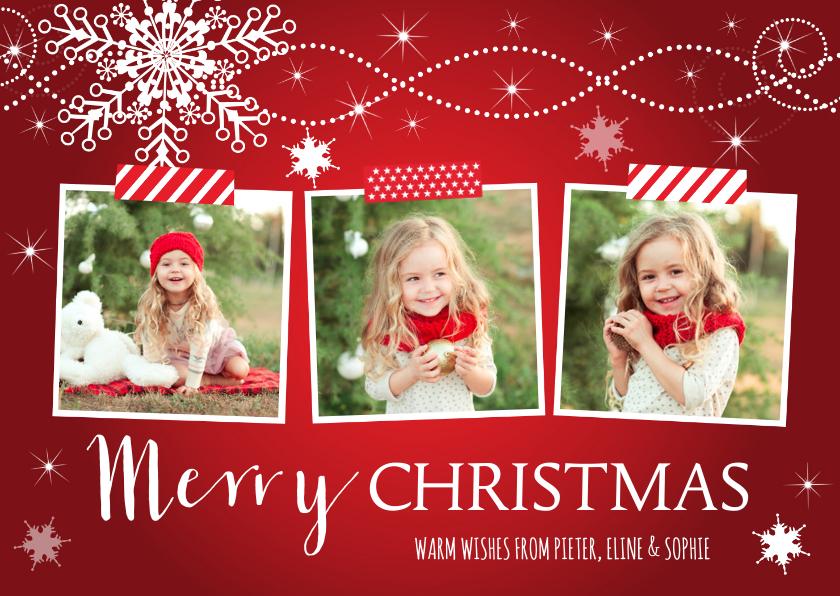 Kerstkaarten - Kerstkaart fotocollage rood sneeuwvlokken rechthoek