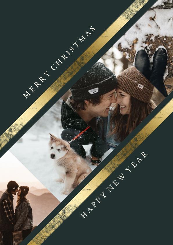 Kerstkaarten - Kerstkaart fotocollage schuin met gouden rand