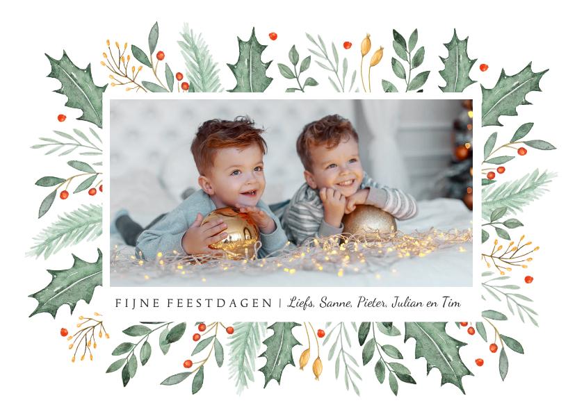 Kerstkaarten - Kerstkaart fotokaart illustratie waterverf winter takjes