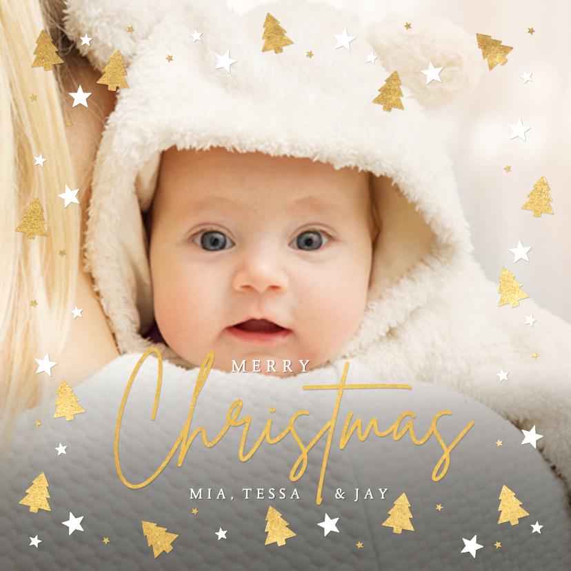 Kerstkaarten - Kerstkaart fotokaart met eigen foto en gouden kerstboompjes