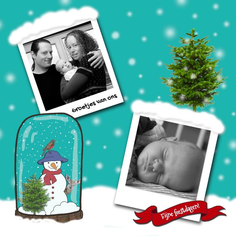 Kerstkaarten - Kerstkaart fotos sneeuw blauw-HR