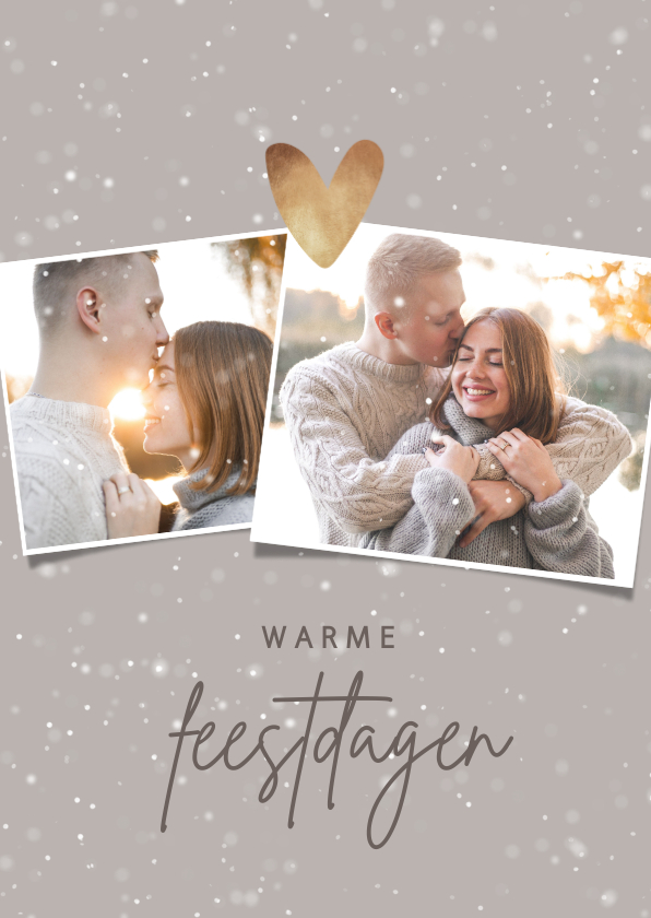 Kerstkaarten - Kerstkaart foto's, sneeuw en hartje van goud