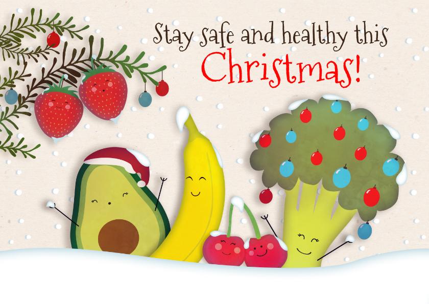Kerstkaarten - Kerstkaart Fruit & Groente - Stay save, stay healthy