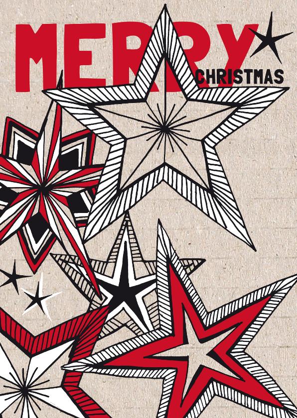 Kerstkaarten - Kerstkaart getekende sterren