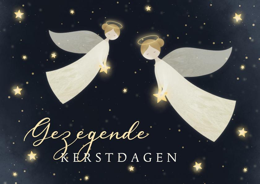 Kerstkaarten - Kerstkaart Gezegende Kerstdagen met 2 engelen en sterren