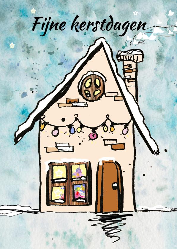 Kerstkaarten - Kerstkaart gezellig huisje