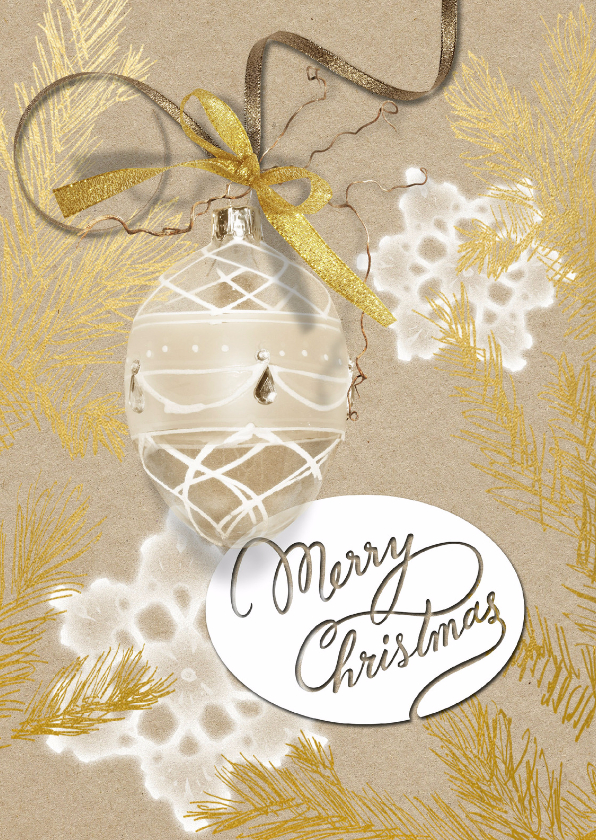 Kerstkaarten - Kerstkaart glazen kerstbal gouden kersttak