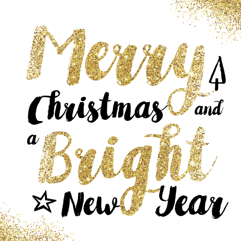 Kerstkaarten - Kerstkaart glitter typografie
