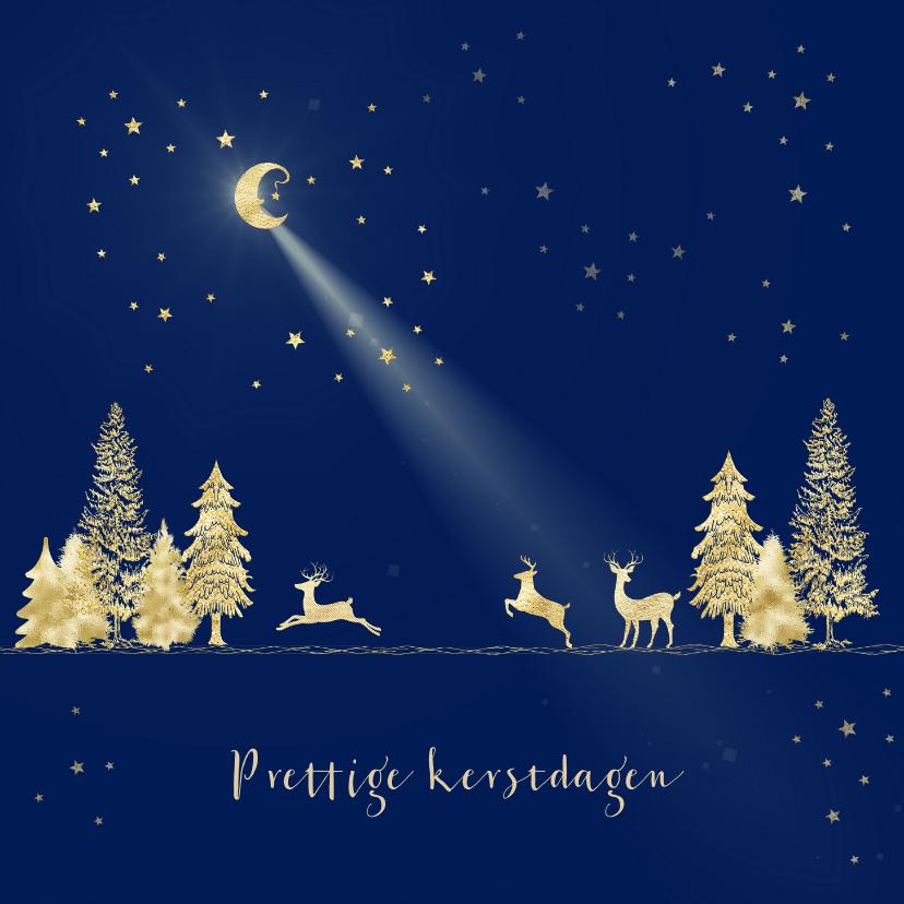 Kerstkaarten - Kerstkaart goud-illustratie op blauw