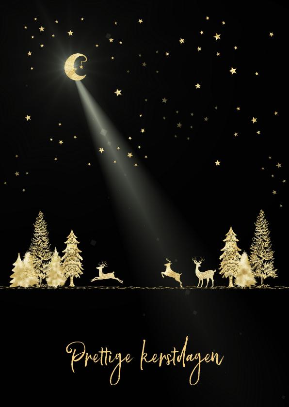 Kerstkaarten - Kerstkaart goud-illustratie op zwart