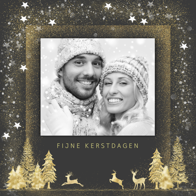Kerstkaarten - Kerstkaart goud op grijs met foto