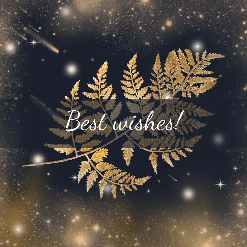 Kerstkaarten - Kerstkaart gouden blad en sterren