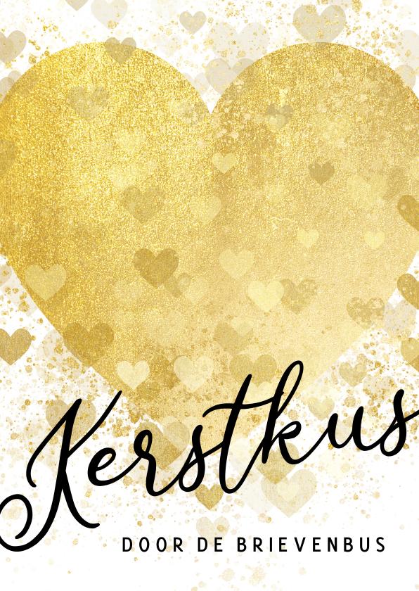 Kerstkaarten - Kerstkaart gouden hart kerstkus brievenbus