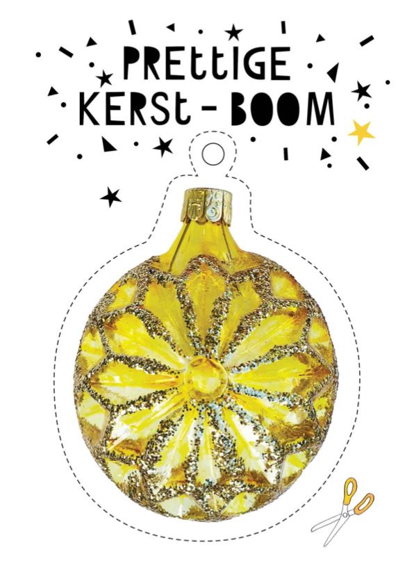Kerstkaarten - Kerstkaart gouden kerstbal