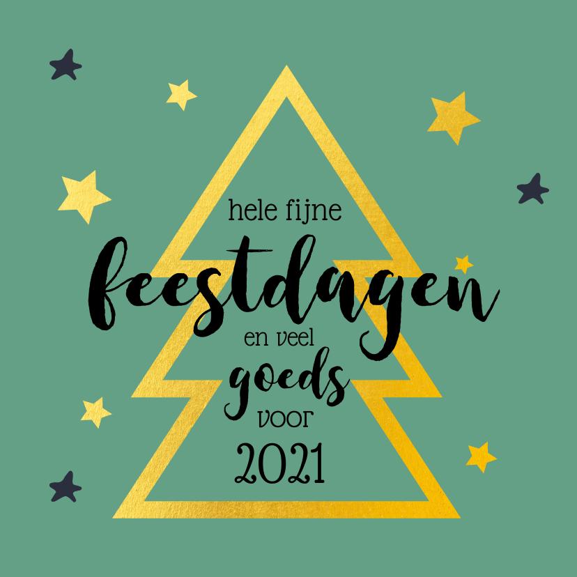 Kerstkaarten - Kerstkaart gouden kerstboom groen 2020