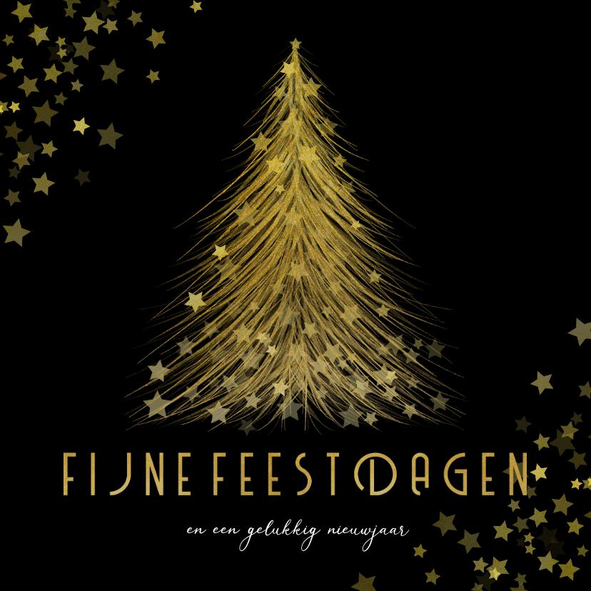 Kerstkaarten - Kerstkaart gouden kerstboom met sterren Fijne Feestdagen
