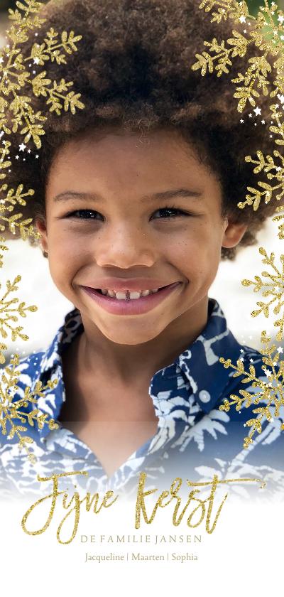 Kerstkaarten - Kerstkaart gouden kerstvlokken lang