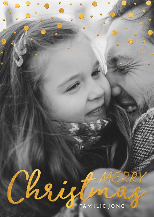 Kerstkaarten - Kerstkaart gouden kerstwens en confetti met grote foto