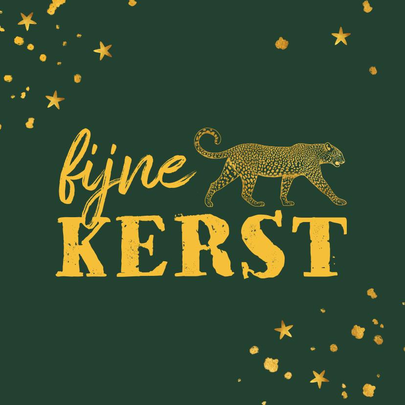 Kerstkaarten - Kerstkaart gouden luipaard met spetters en sterren