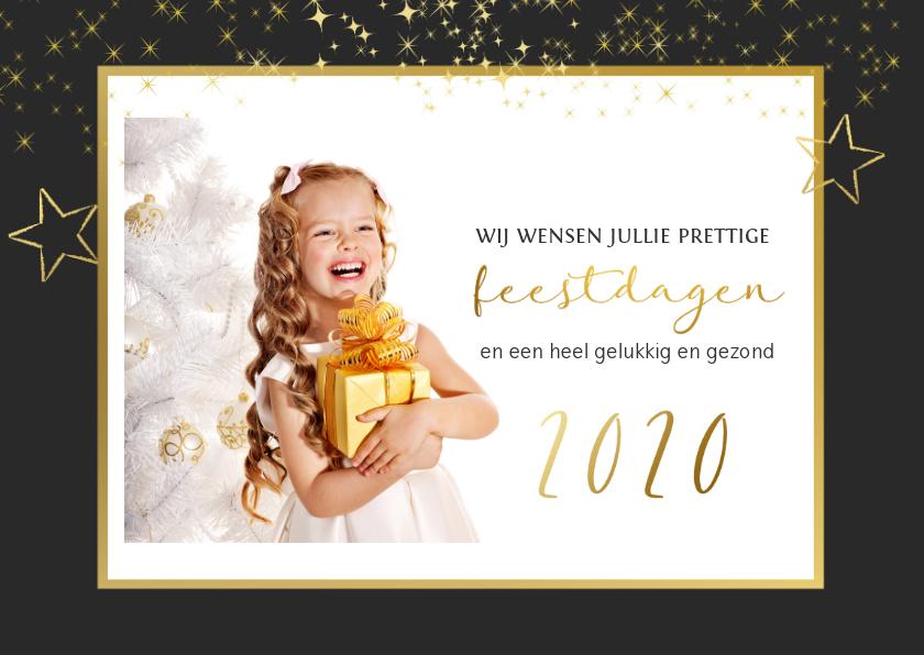 Kerstkaarten - Kerstkaart gouden sterren en foto