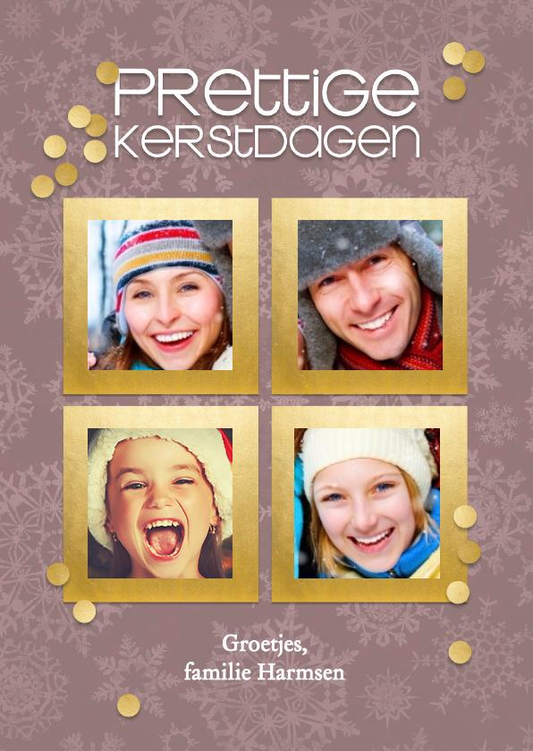 Kerstkaarten - Kerstkaart goudkleurige lijst met 4 foto's