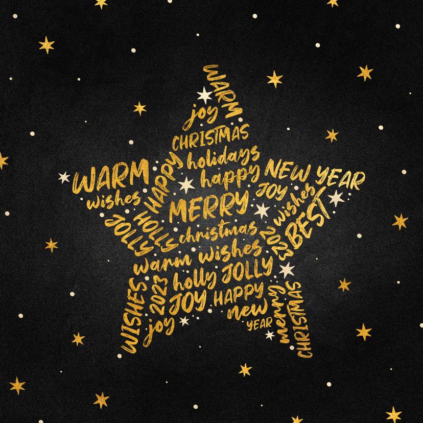Kerstkaarten - Kerstkaart goudlook ster met woorden krijtbord