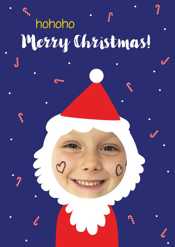 Kerstkaarten - Kerstkaart grappig met kind foto