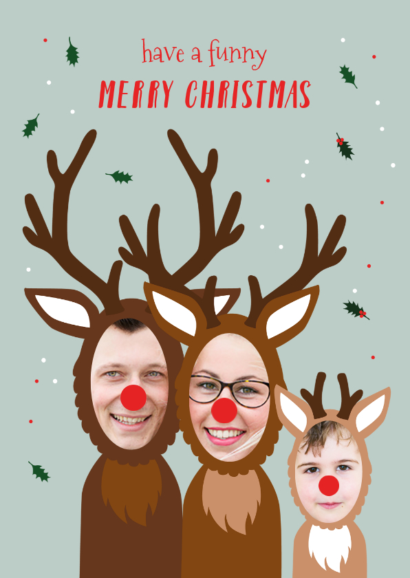 Kerstkaarten - Kerstkaart grappig samen met je kind