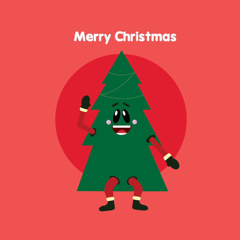 Kerstkaarten - Kerstkaart Grappige kerstboom