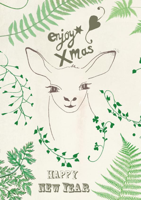 Kerstkaarten -  Kerstkaart Green Deer
