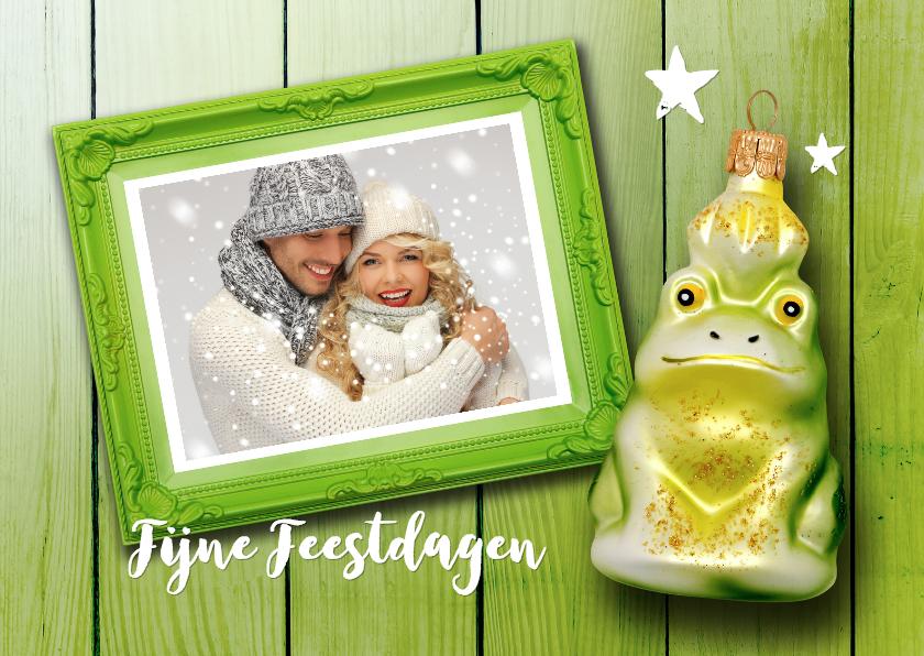 Kerstkaarten - Kerstkaart groen eigen foto kikker met kikker kerstbal