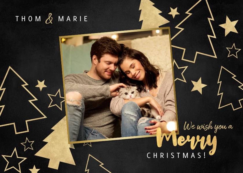 Kerstkaarten - Kerstkaart grote foto, gouden kerstbomen en sterren