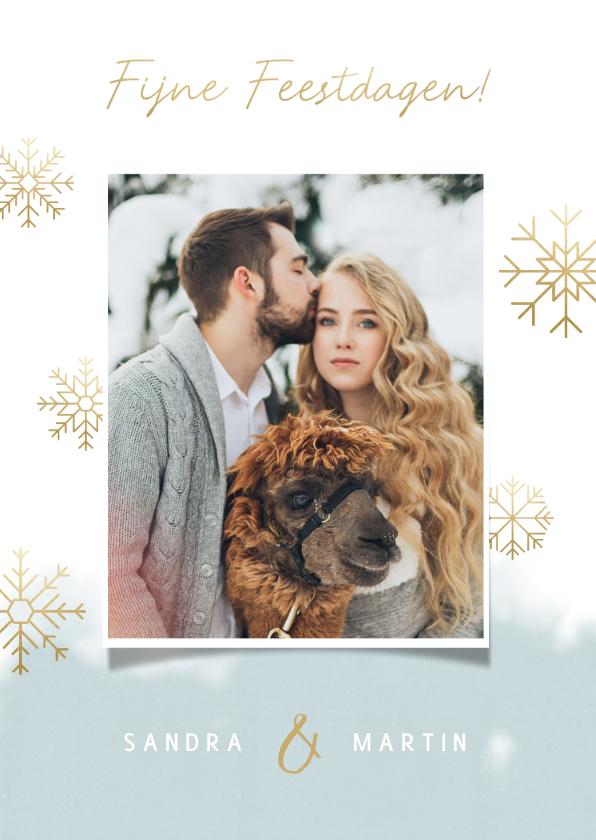 Kerstkaarten - Kerstkaart grote foto, waterverf en gouden sneeuwvlokken