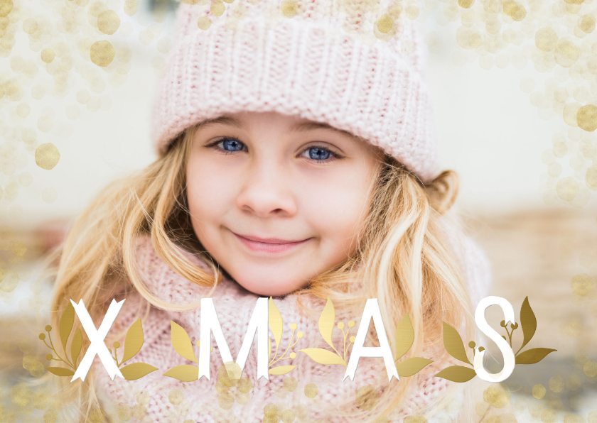 Kerstkaarten - Kerstkaart grote foto XMAS goudlook met confetti