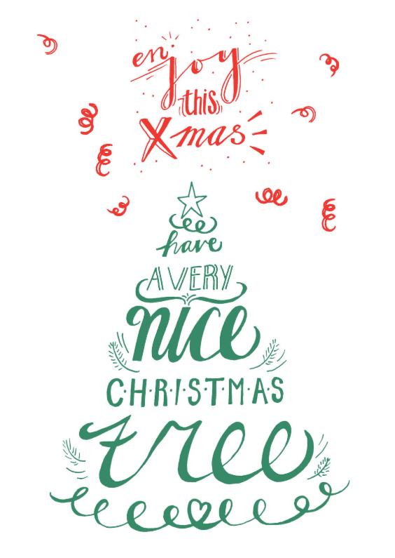 Kerstkaarten - Kerstkaart hand lettering kerst