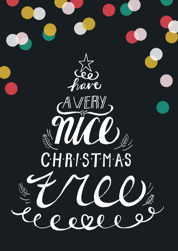 Kerstkaarten - Kerstkaart handlettering kerstboom confetti
