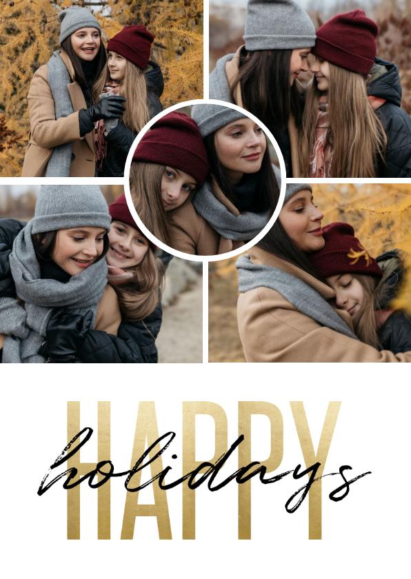 Kerstkaarten - Kerstkaart happy holidays goudlook fotocollage