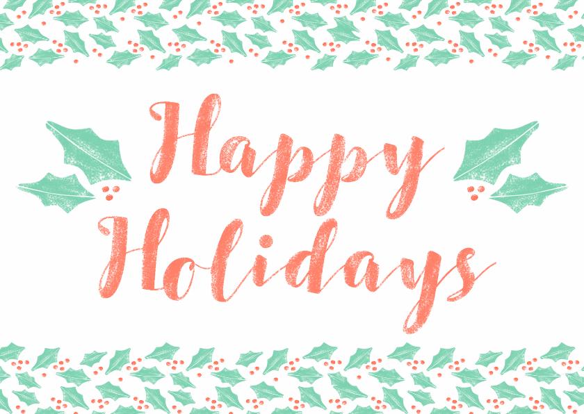 Kerstkaarten - Kerstkaart happy holidays typografisch