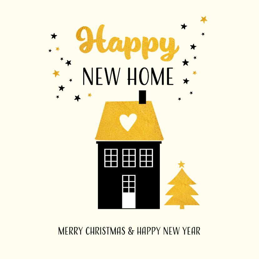 Kerstkaarten - Kerstkaart happy new home met goudkleur accenten