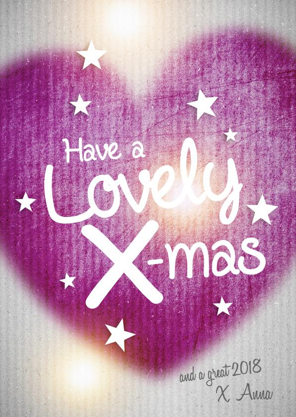 Kerstkaarten - Kerstkaart - Hart-Lovely X-mas paars