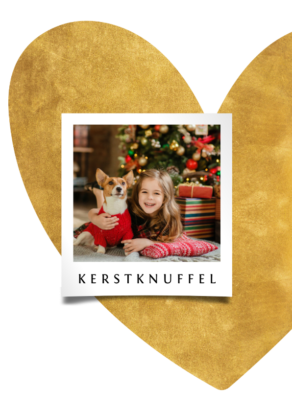 Kerstkaarten - Kerstkaart hart van goud met foto
