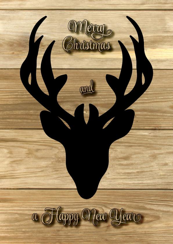 Kerstkaarten - Kerstkaart hert retro hout