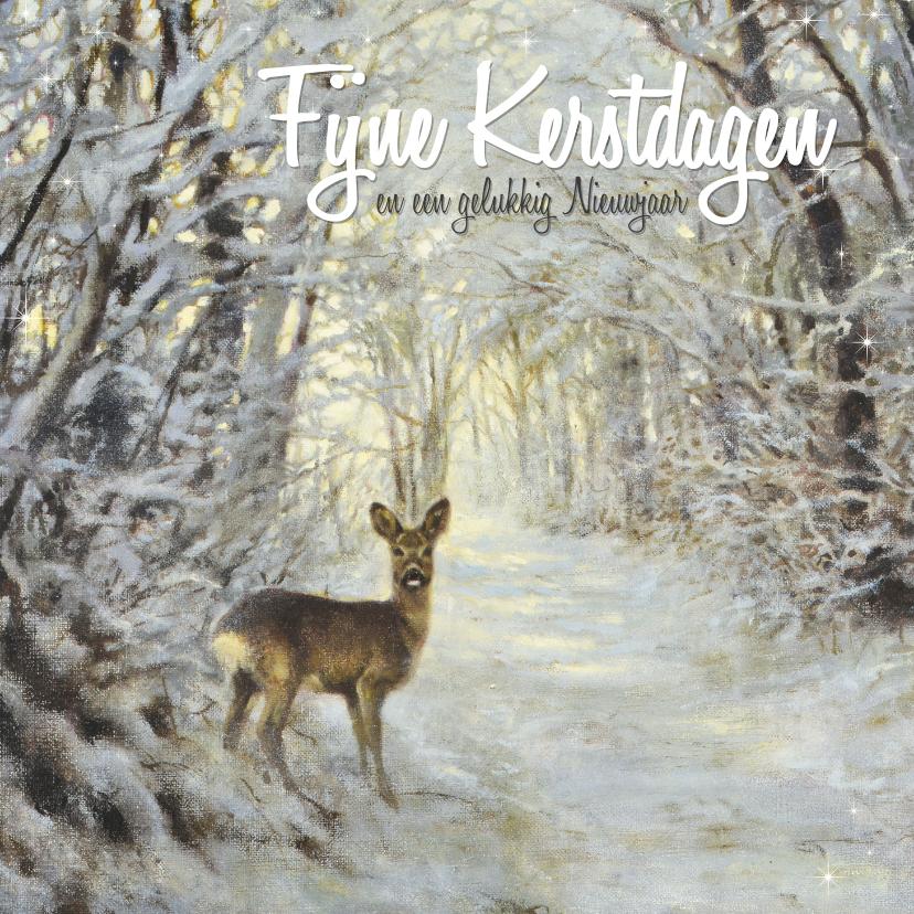 Kerstkaarten - Kerstkaart hertje in het winterbos