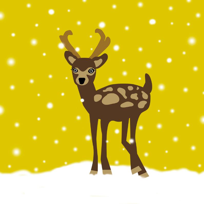 Kerstkaarten - Kerstkaart Hertje in Sneeuw Geel